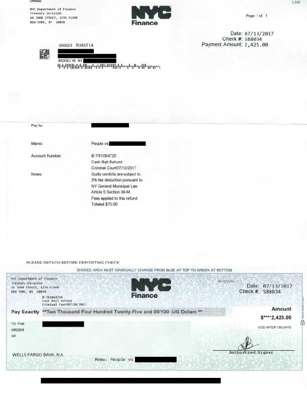A receipt for bail showing the 3% fee (acquired by Betterbail)